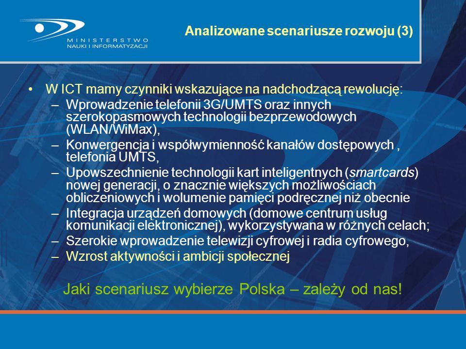 Analizowane scenariusze rozwoju (3) W ICT mamy czynniki wskazujące na nadchodzącą rewolucję: –Wprowadzenie telefonii 3G/UMTS oraz innych szerokopasmow