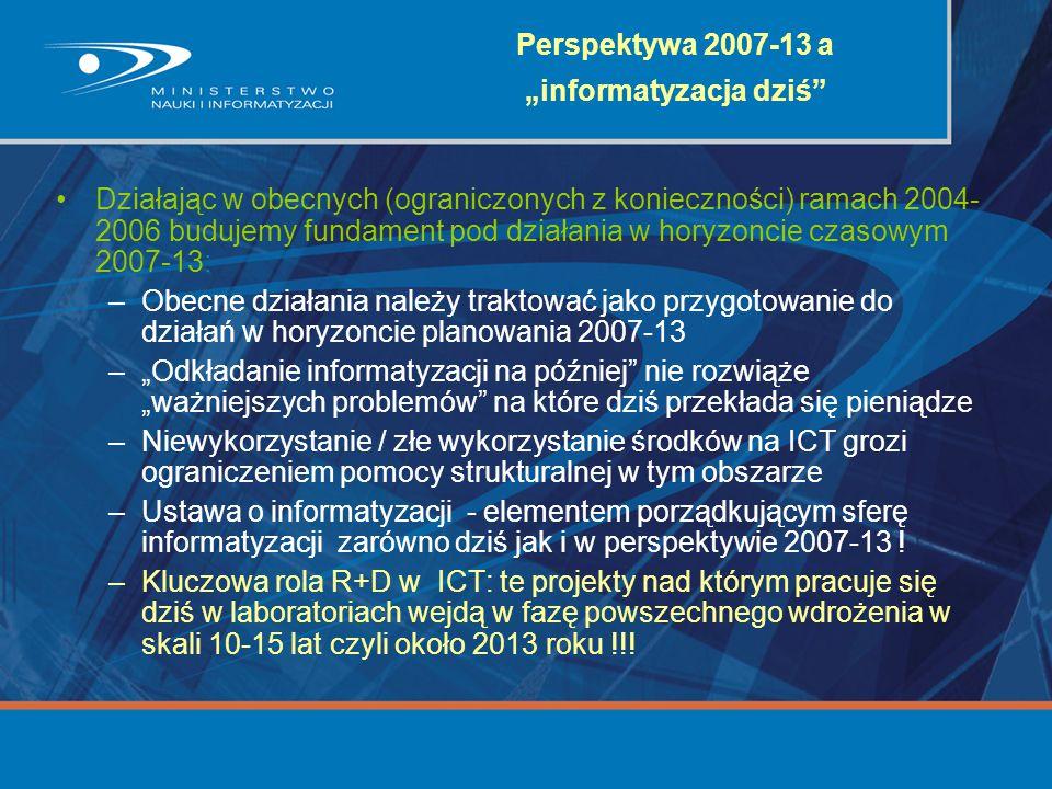 """Perspektywa 2007-13 a """"informatyzacja dziś"""" Działając w obecnych (ograniczonych z konieczności) ramach 2004- 2006 budujemy fundament pod działania w h"""
