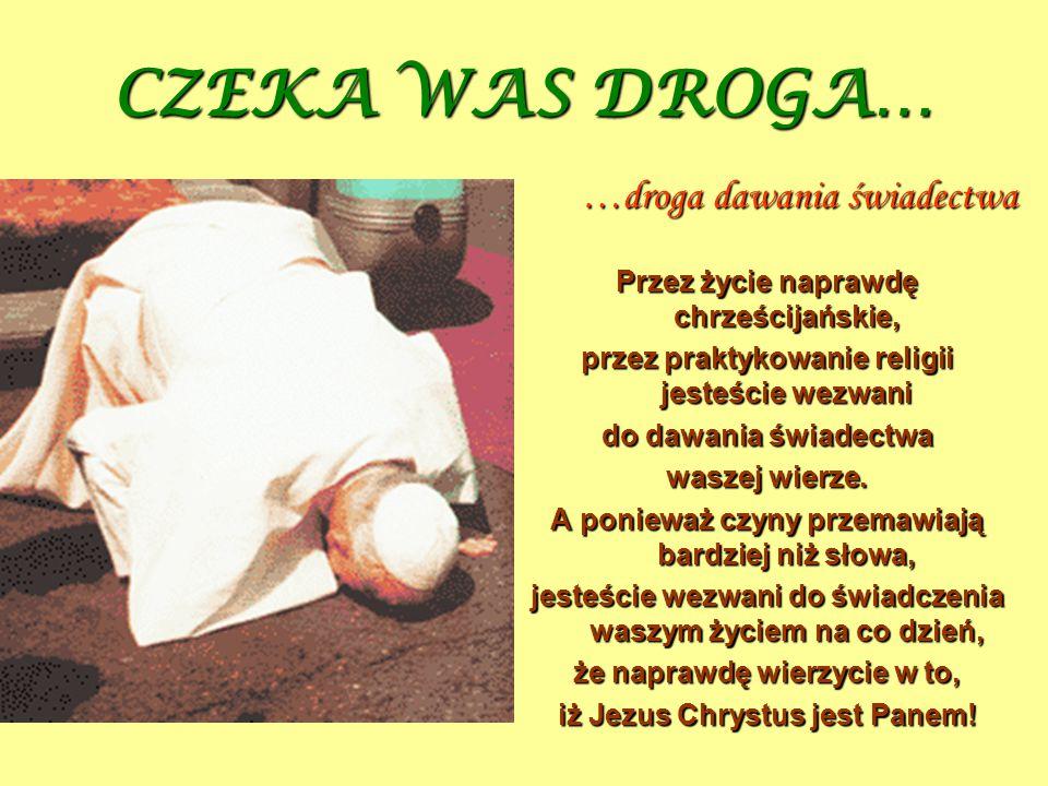 CZEKA WAS DROGA… Przez życie naprawdę chrześcijańskie, przez praktykowanie religii jesteście wezwani do dawania świadectwa waszej wierze. A ponieważ c