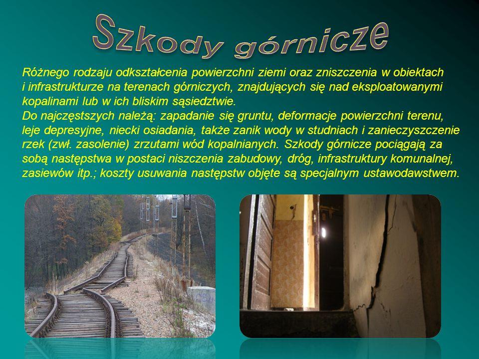 Różnego rodzaju odkształcenia powierzchni ziemi oraz zniszczenia w obiektach i infrastrukturze na terenach górniczych, znajdujących się nad eksploatow