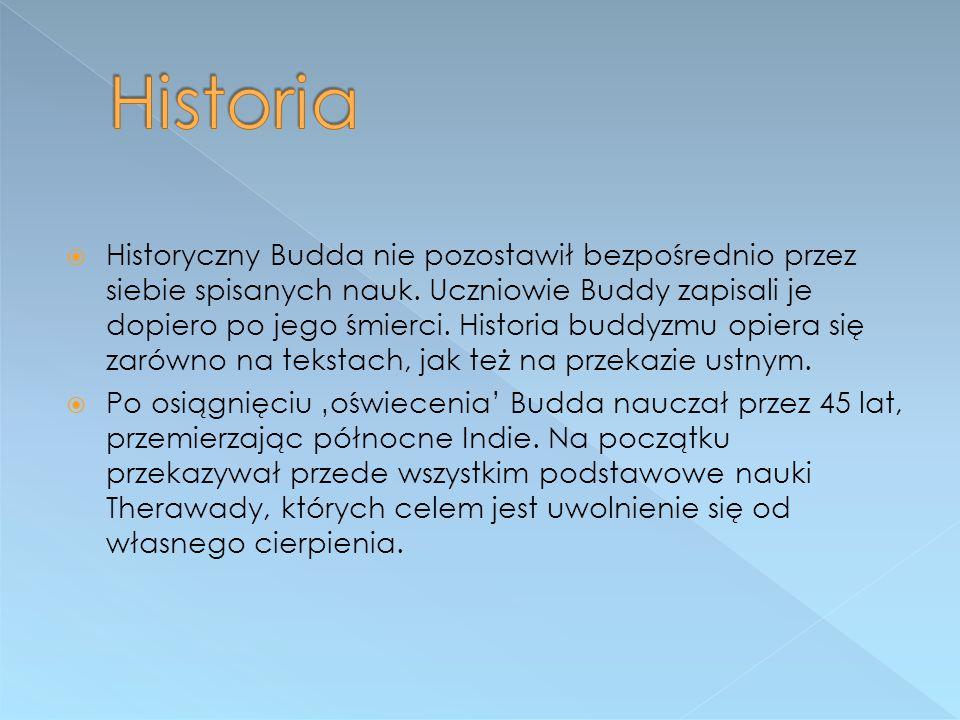  Historyczny Budda nie pozostawił bezpośrednio przez siebie spisanych nauk. Uczniowie Buddy zapisali je dopiero po jego śmierci. Historia buddyzmu op