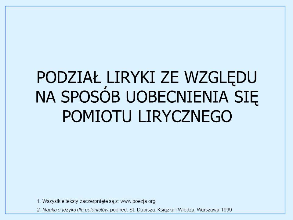 PODZIAŁ LIRYKI ZE WZGLĘDU NA SPOSÓB UOBECNIENIA SIĘ POMIOTU LIRYCZNEGO 1. Wszystkie teksty zaczerpnięte są z: www.poezja.org 2. Nauka o języku dla pol