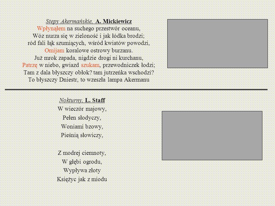 Stepy Akermańskie, A. Mickiewicz Wpłynąłem na suchego przestwór oceanu, Wóz nurza się w zieloność i jak łódka brodzi; ród fali łąk szumiących, wśród k