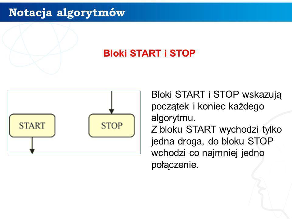 6 Bloki START i STOP wskazują początek i koniec każdego algorytmu. Z bloku START wychodzi tylko jedna droga, do bloku STOP wchodzi co najmniej jedno p