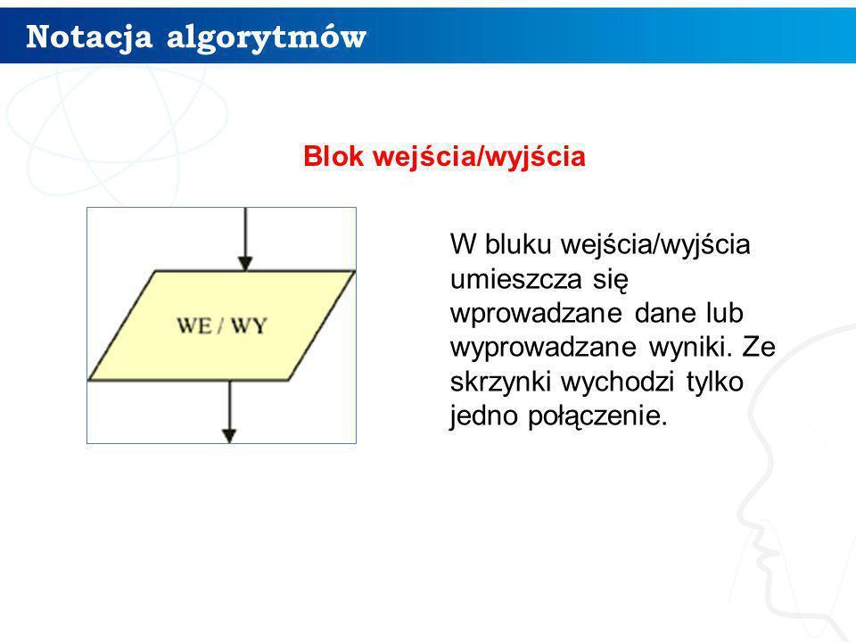 Przykładowy algorytm 10 W algorytmie tym wykorzystujemy blok warunkowy, ponieważ mamy do czynienia z sytuacją, gdy tok dalszego postępowania zależy od dokonanego wyboru (dokładnie: zależy od pogody).