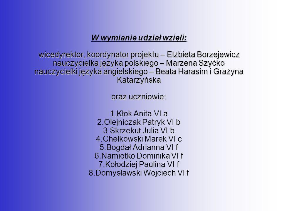 wicedyrektor, koordynator projektu – Elżbieta Borzejewicz nauczycielka języka polskiego – Marzena Szyćko nauczycielki języka angielskiego – Beata Hara