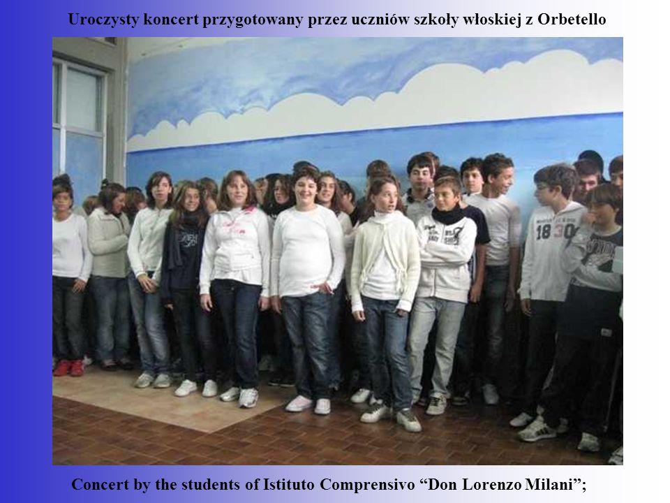 """Concert by the students of Istituto Comprensivo """"Don Lorenzo Milani""""; Uroczysty koncert przygotowany przez uczniów szkoły włoskiej z Orbetello"""