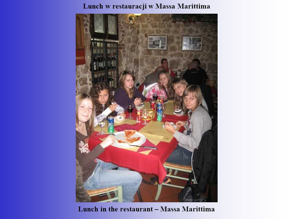 Lunch w restauracji w Massa Marittima Lunch in the restaurant – Massa Marittima
