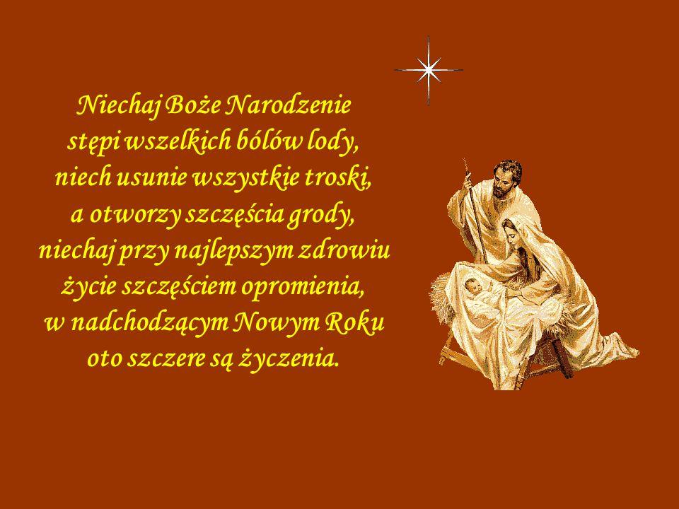 Niechaj Boże Narodzenie stępi wszelkich bólów lody, niech usunie wszystkie troski, a otworzy szczęścia grody, niechaj przy najlepszym zdrowiu życie szczęściem opromienia, w nadchodzącym Nowym Roku oto szczere są życzenia.