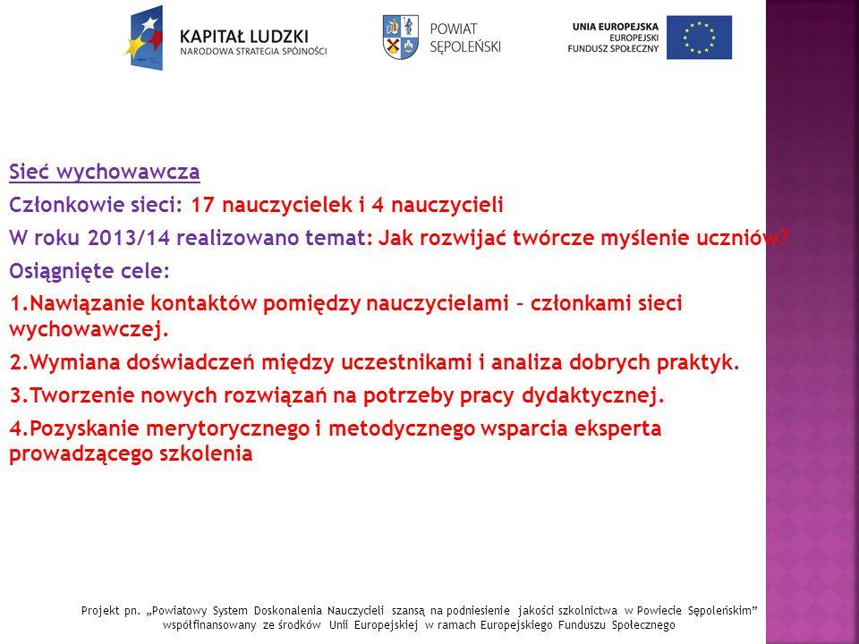 Sieć wychowawcza Członkowie sieci: 17 nauczycielek i 4 nauczycieli W roku 2013/14 realizowano temat: Jak rozwijać twórcze myślenie uczniów.