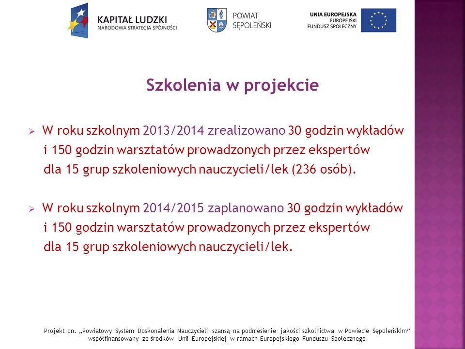 Szkolenia w projekcie  W roku szkolnym 2013/2014 zrealizowano 30 godzin wykładów i 150 godzin warsztatów prowadzonych przez ekspertów dla 15 grup szkoleniowych nauczycieli/lek (236 osób).
