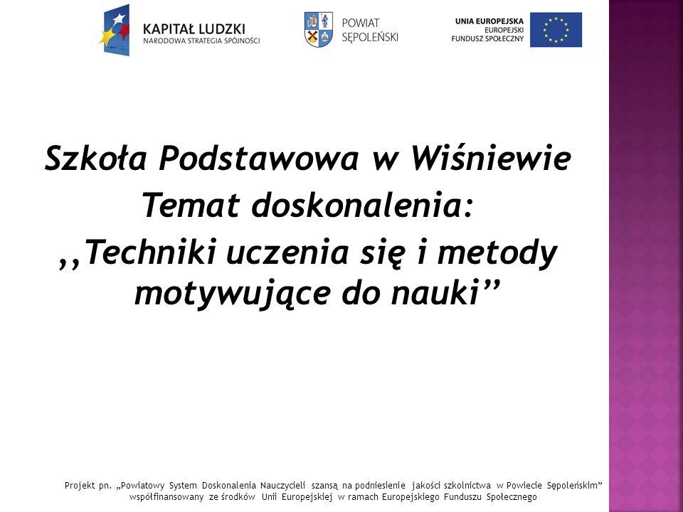Szkoła Podstawowa w Wiśniewie Temat doskonalenia:,,Techniki uczenia się i metody motywujące do nauki'' Projekt pn.