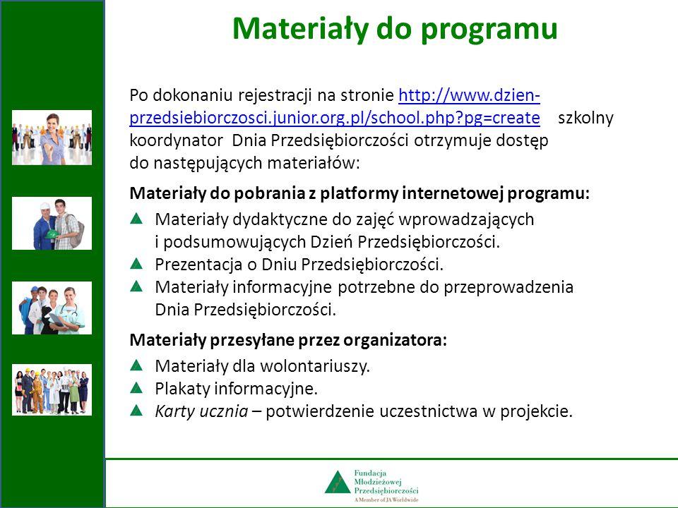 Po dokonaniu rejestracji na stronie http://www.dzien- przedsiebiorczosci.junior.org.pl/school.php?pg=create szkolny koordynator Dnia Przedsiębiorczośc
