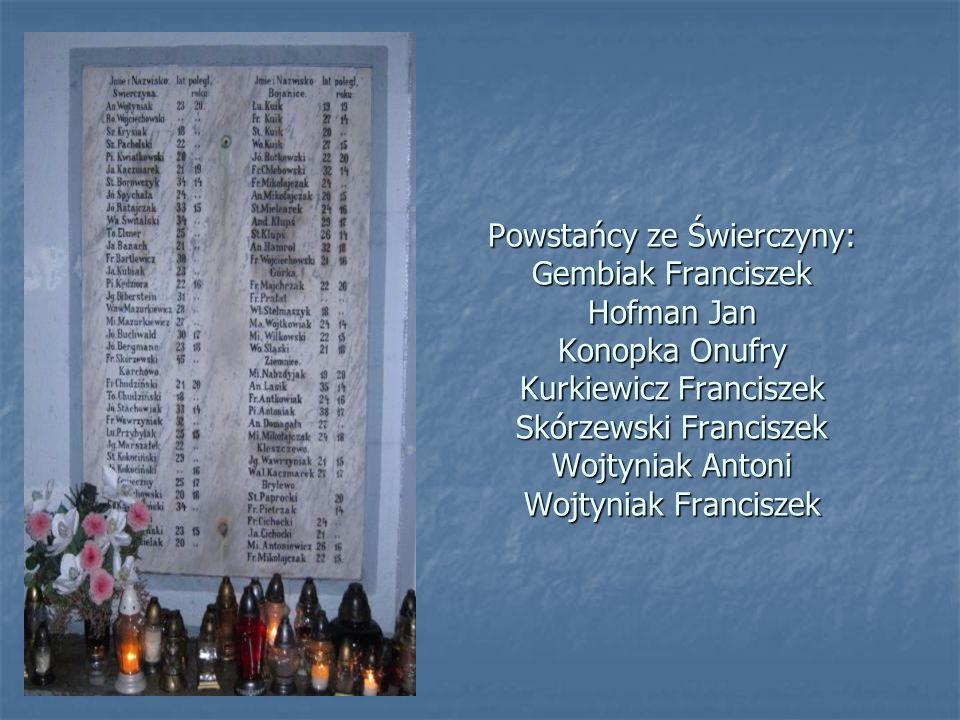 Powstańcy ze Świerczyny: Gembiak Franciszek Hofman Jan Konopka Onufry Kurkiewicz Franciszek Skórzewski Franciszek Wojtyniak Antoni Wojtyniak Francisze