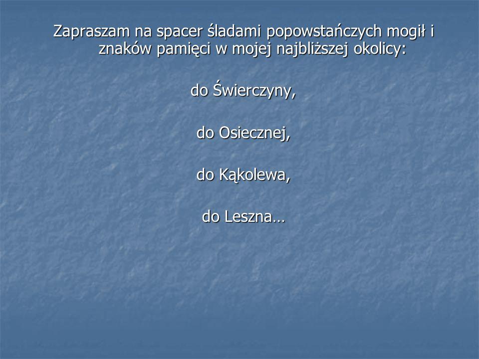 Zapraszam na spacer śladami popowstańczych mogił i znaków pamięci w mojej najbliższej okolicy: do Świerczyny, do Osiecznej, do Kąkolewa, do Leszna…