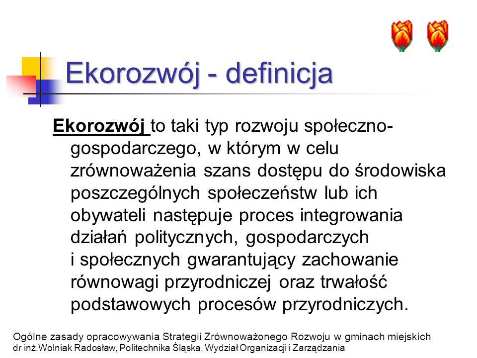 Tworzenie strategii ekorozwoju - podejścia Wykorzystanie własnego personelu technicznego Wynajęcie ekspertów Wykorzystanie prac konsultantów i ochotników Ogólne zasady opracowywania Strategii Zrównoważonego Rozwoju w gminach miejskich dr inż.Wolniak Radosław, Politechnika Śląska, Wydział Organizacji i Zarządzania