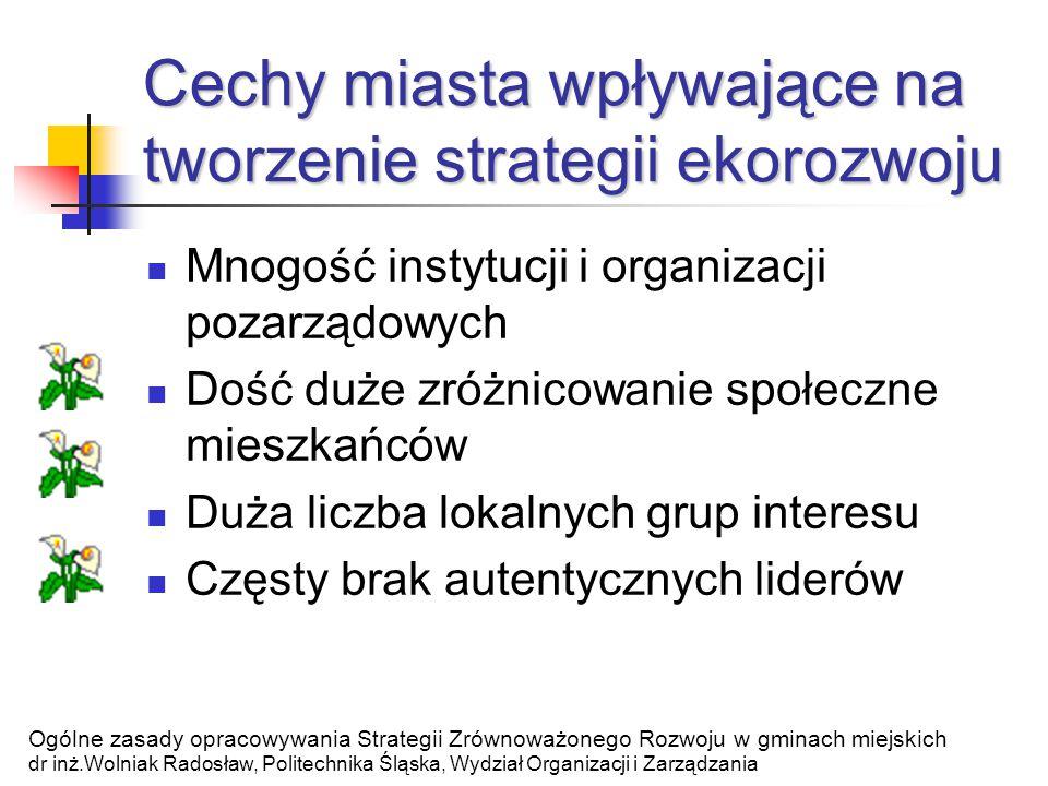 Miejska Agenda 21 Miejska Agenda 21 = miejski program ekorozwoju Ogólne zasady opracowywania Strategii Zrównoważonego Rozwoju w gminach miejskich dr inż.Wolniak Radosław, Politechnika Śląska, Wydział Organizacji i Zarządzania