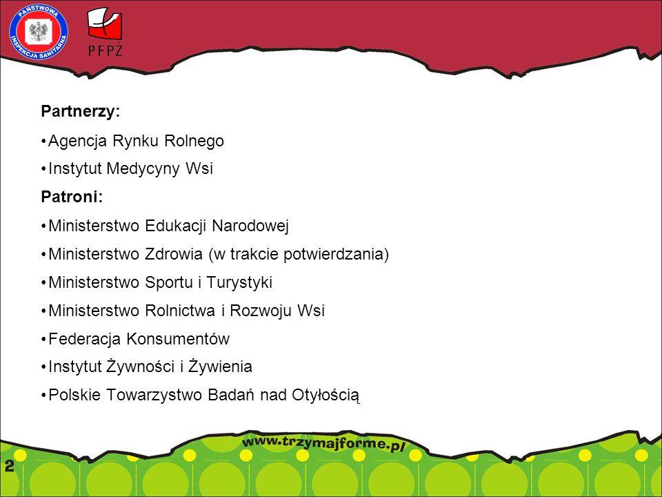 Partnerzy: Agencja Rynku Rolnego Instytut Medycyny Wsi Patroni: Ministerstwo Edukacji Narodowej Ministerstwo Zdrowia (w trakcie potwierdzania) Ministerstwo Sportu i Turystyki Ministerstwo Rolnictwa i Rozwoju Wsi Federacja Konsumentów Instytut Żywności i Żywienia Polskie Towarzystwo Badań nad Otyłością