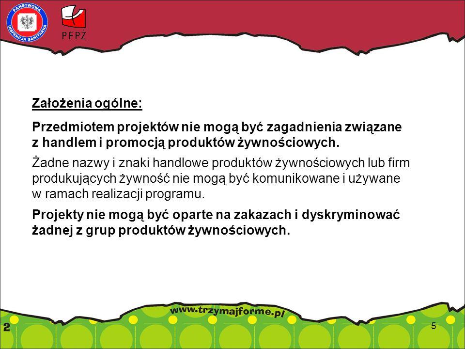 Założenia ogólne: Przedmiotem projektów nie mogą być zagadnienia związane z handlem i promocją produktów żywnościowych.