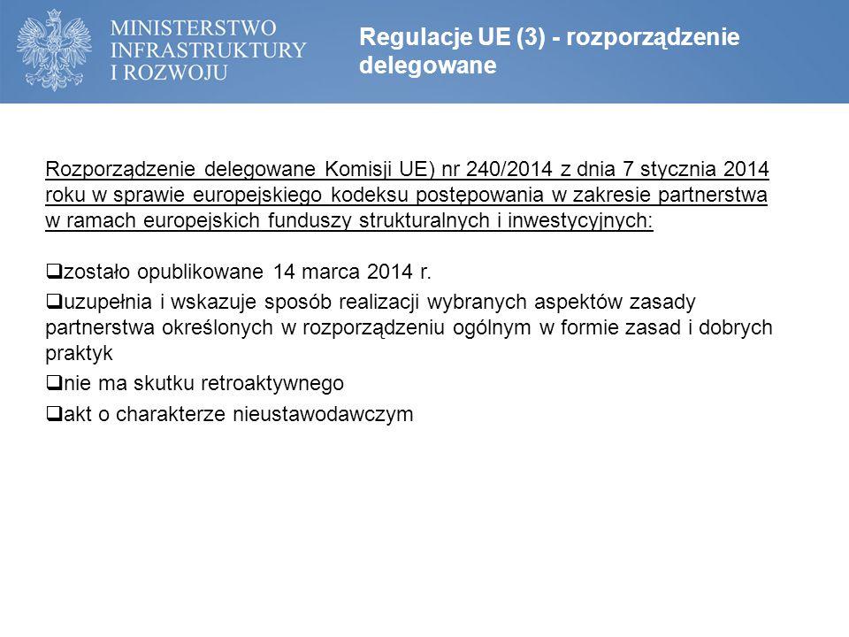 Rozporządzenie delegowane Komisji UE) nr 240/2014 z dnia 7 stycznia 2014 roku w sprawie europejskiego kodeksu postępowania w zakresie partnerstwa w ramach europejskich funduszy strukturalnych i inwestycyjnych:  zostało opublikowane 14 marca 2014 r.