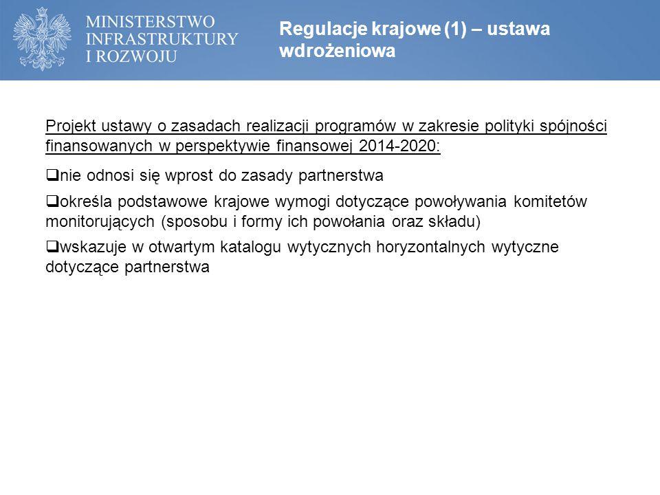Regulacje krajowe (1) – ustawa wdrożeniowa Projekt ustawy o zasadach realizacji programów w zakresie polityki spójności finansowanych w perspektywie finansowej 2014-2020:  nie odnosi się wprost do zasady partnerstwa  określa podstawowe krajowe wymogi dotyczące powoływania komitetów monitorujących (sposobu i formy ich powołania oraz składu)  wskazuje w otwartym katalogu wytycznych horyzontalnych wytyczne dotyczące partnerstwa