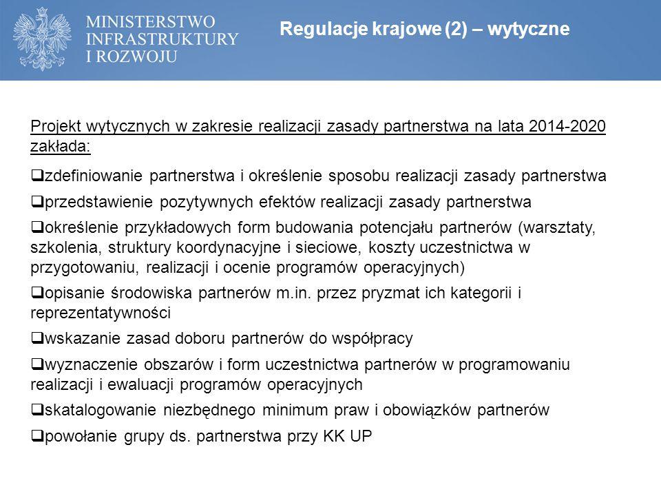 Regulacje krajowe (2) – wytyczne Projekt wytycznych w zakresie realizacji zasady partnerstwa na lata 2014-2020 zakłada:  zdefiniowanie partnerstwa i określenie sposobu realizacji zasady partnerstwa  przedstawienie pozytywnych efektów realizacji zasady partnerstwa  określenie przykładowych form budowania potencjału partnerów (warsztaty, szkolenia, struktury koordynacyjne i sieciowe, koszty uczestnictwa w przygotowaniu, realizacji i ocenie programów operacyjnych)  opisanie środowiska partnerów m.in.
