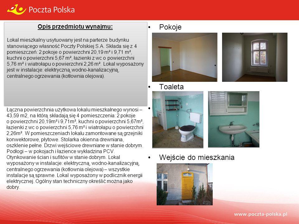Opis przedmiotu wynajmu: Lokal mieszkalny usytuowany jest na parterze budynku stanowiącego własność Poczty Polskiej S.A. Składa się z 4 pomieszczeń: 2