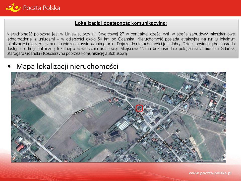 Lokalizacja i dostępność komunikacyjna: Nieruchomość położona jest w Liniewie, przy ul. Dworcowej 27 w centralnej części wsi, w strefie zabudowy miesz