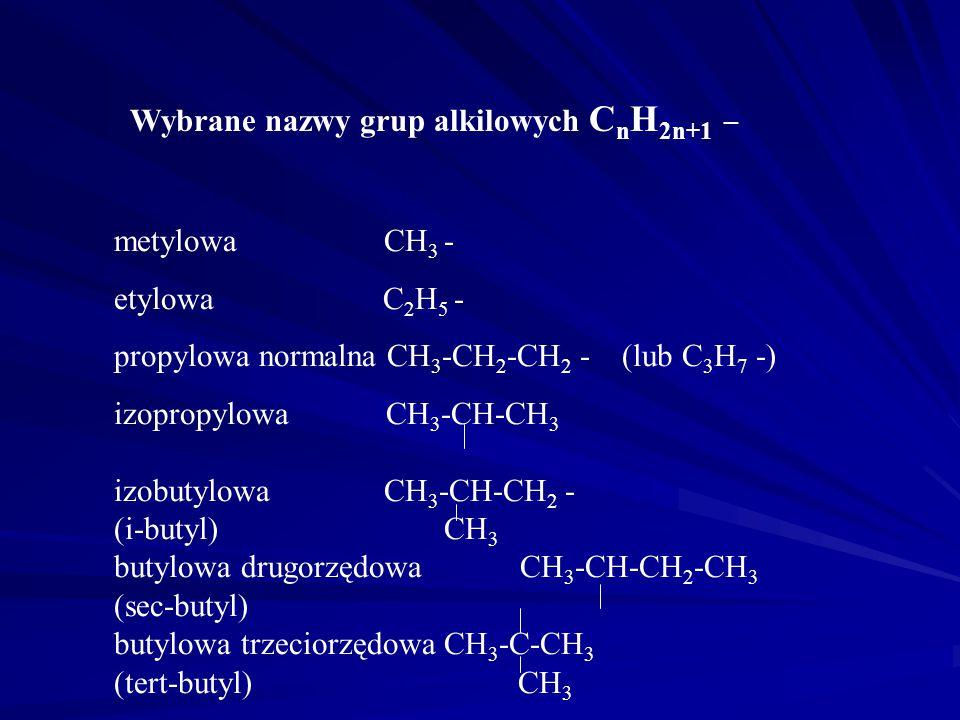 Węglowodory nasycone - alkany C n H 2n+2 C1-12 metan etan propan butan pentan heksan heptan oktan nonan dekan undekan dodekan C20-23 ejkozan unejkozan