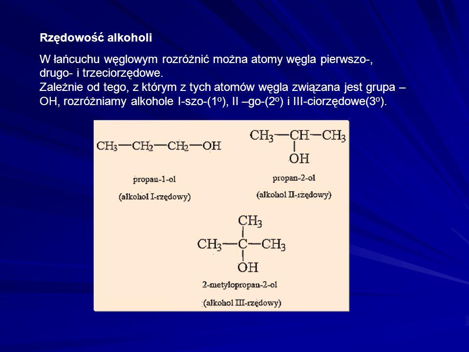 Podział alkoholi alifatycznych
