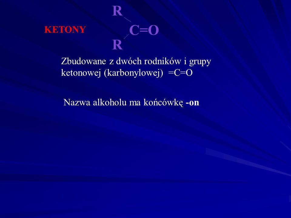 ALDEHYDY Zbudowane z rodnika i grupy aldehydowej -CHO Nazwa alkdehydu ma końcówkę -al R - C=O H