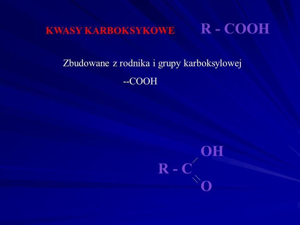 KETONY Zbudowane z dwóch rodników i grupy ketonowej (karbonylowej) =C=O Nazwa alkoholu ma końcówkę -on C=O R R