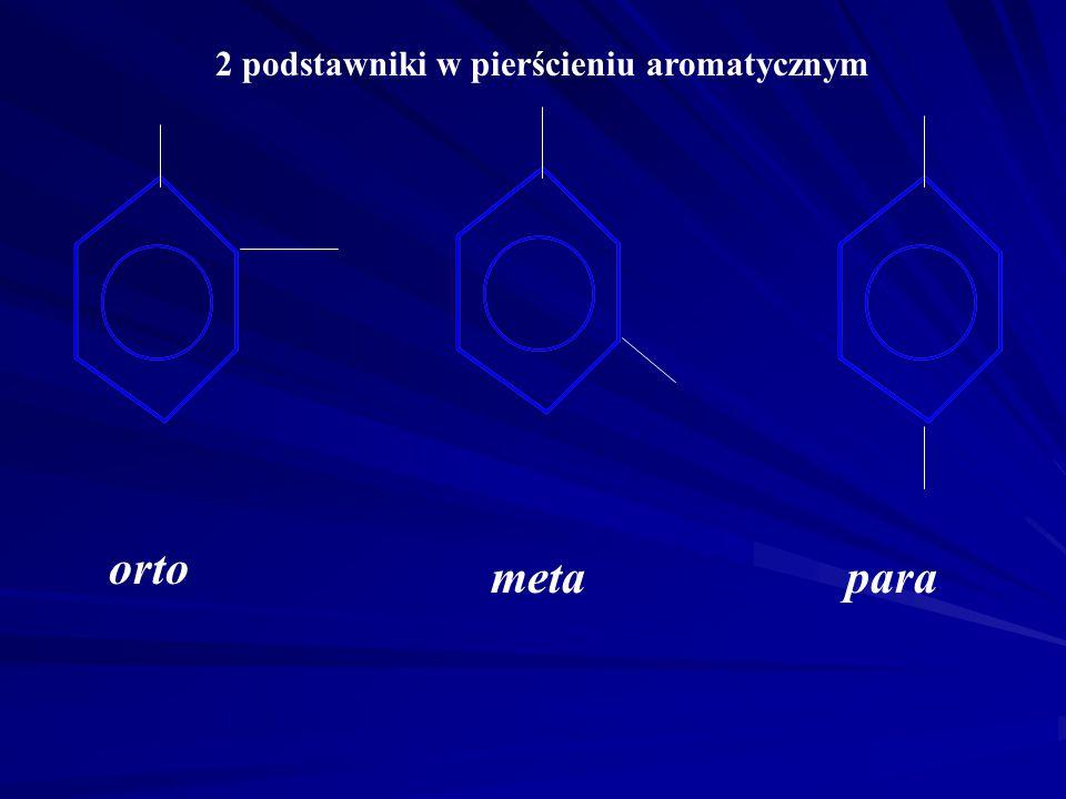 Pochodne węglowodorów aromatycznych X X = rodniki alkilowe : alkilobenzen (np.metylobenzen czyli toluen) X = grupa nitrowa -NO 2 : nitrobenzen X = gru