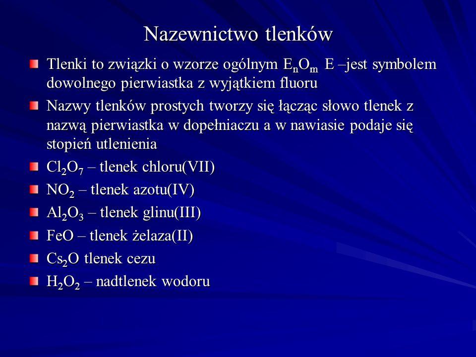 Kwasy tlenowe Wzór kwasu Wzór reszty kwasowej Nazwa w systemie Stocka Nazwa soli HMnO 4 H 2 MnO 4 H 2 SO 3 (SO 2 H 2 O) H 2 SO 4 H 2 S 2 O 7 H 2 S 2 O 8 H 2 S 2 O 3 H 2 CO 3 (CO 2 H 2 O) HOCN MnO 4 - MnO 4 2- SO 3 2- SO 4 2- S 2 O 7 2- S 2 O 8 2- S 2 O 3 2- CO 3 2- CO 3 2- OCN - kwas manganowy(VII) kwas manganowy(VI ) kwas siarkowy(IV) kwas siarkowy(VI) kwas disiarkowy(VI) kwas peroksodisiarkowy(VI) kwas tiosiarkowy(VI) kwas węglowy kwas cyjanowy Manganian(VII)Manganian(VI)Siarczan(IV)Siarczan(VI)Disiarczan(VI)Peroksodisiarczan(VI)Tiosiarczan(VI)WęglanCyjanian
