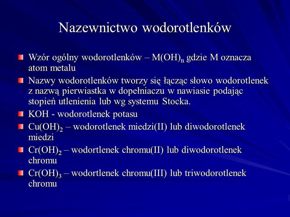 Wzór Nazwa zwyczajowa (dopuszczalna) Nazwa systematyczna B 2 H 6 CH 4 SiH 4 NH 3 N 2 H 4 PH 3 H 2 O H 2 S H 2 Se H 2 Te Diborowodór (6) lub diboran (6