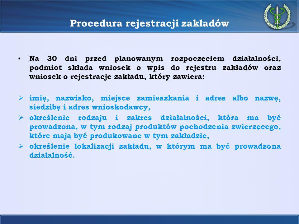 Procedura rejestracji zakładów Na 30 dni przed planowanym rozpoczęciem działalności, podmiot składa wniosek o wpis do rejestru zakładów oraz wniosek o