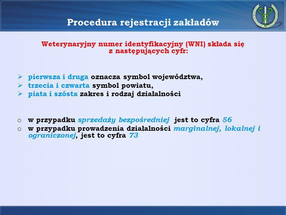 Procedura rejestracji zakładów Weterynaryjny numer identyfikacyjny (WNI) składa się z następujących cyfr:  pierwsza i druga oznacza symbol województw