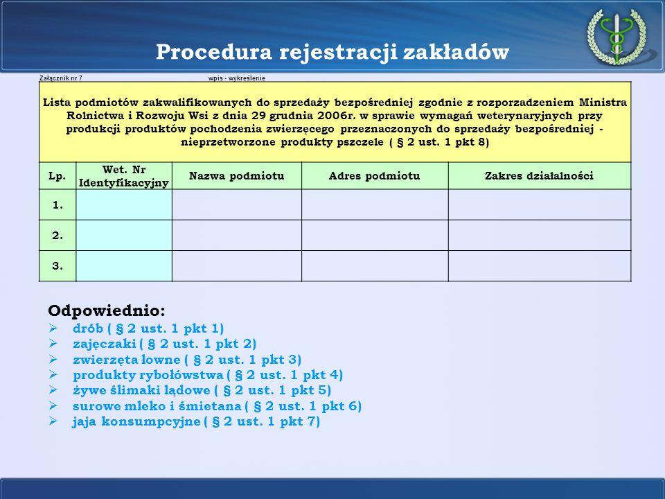Procedura rejestracji zakładów Odpowiednio:  drób ( § 2 ust. 1 pkt 1)  zajęczaki ( § 2 ust. 1 pkt 2)  zwierzęta łowne ( § 2 ust. 1 pkt 3)  produkt