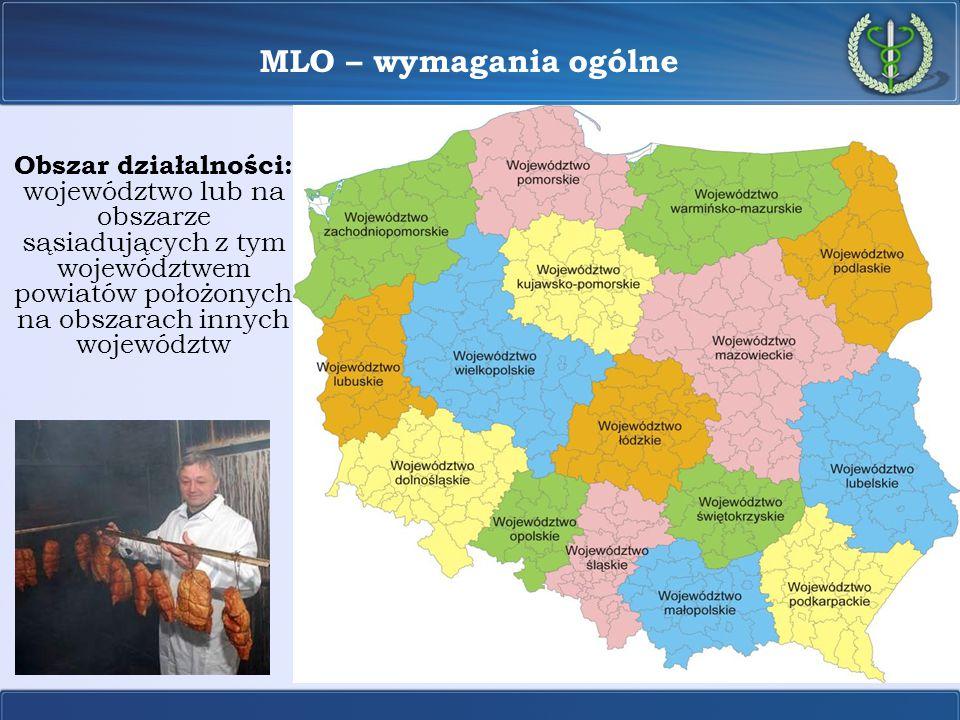 MLO – wymagania ogólne Obszar działalności: województwo lub na obszarze sąsiadujących z tym województwem powiatów położonych na obszarach innych wojew