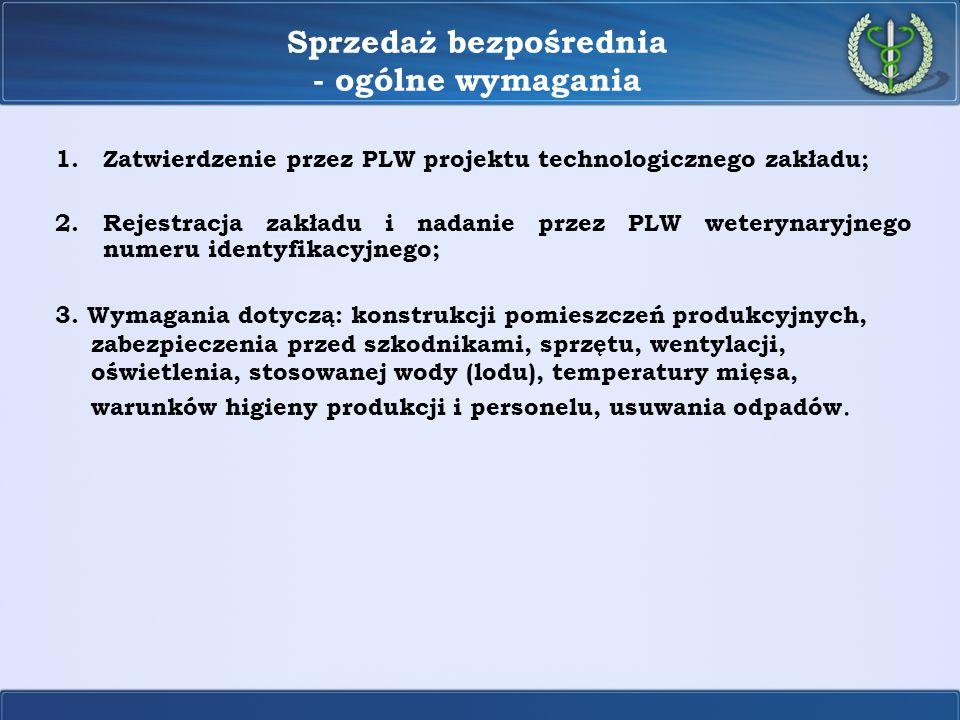 Sprzedaż bezpośrednia - ogólne wymagania 1.Zatwierdzenie przez PLW projektu technologicznego zakładu; 2.Rejestracja zakładu i nadanie przez PLW wetery