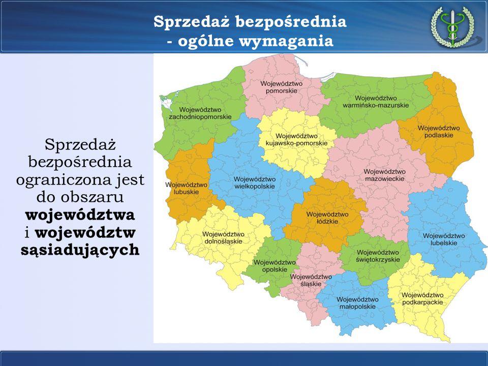 Sprzedaż bezpośrednia - ogólne wymagania Sprzedaż bezpośrednia ograniczona jest do obszaru województwa i województw sąsiadujących