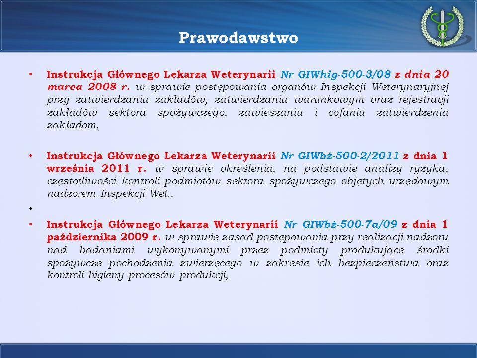 Podstawy prawne systemu kontroli  przepisy Unii Europejskiej (rozporządzenia Parlamentu Europejskiego i Rady, rozporządzenia i decyzje Komisji);  polskie przepisy: o powszechnie obowiązujące - ustawa o Inspekcji Weterynaryjnej, ustawa o produktach pochodzenia zwierzęcego, rozporządzenia wykonawcze MRiRW do tych ustaw; o akty prawa wewnętrznego (mające wyłącznie zastosowanie do organów Inspekcji Weterynaryjnej oraz urzędowych lekarzy weterynarii) – instrukcje GLW Podstawy prawne systemu kontroli
