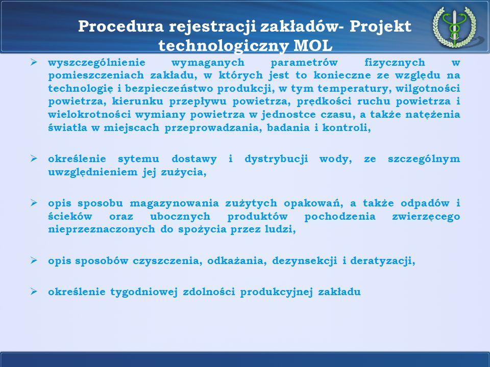 Procedura rejestracji zakładów- Projekt technologiczny MOL Część graficzna projektu technologicznego powinna przedstawiać:  rzuty poziome kondygnacji zakładu, z zaznaczeniem pomieszczeń i wyróżnieniem stref o różnym stopniu ryzyka zanieczyszczenia mikrobiologicznego,  rzuty poziome kondygnacji zakładu, z zaznaczeniem pomieszczeń i wyróżnieniem stref,  miejsca, w których odbywają się poszczególne etapy produkcji, stanowiska pracy, lokalizację maszyn, instalacji i urządzeń produkcyjnych, od przyjęcia surowców do wysyłki produktów.