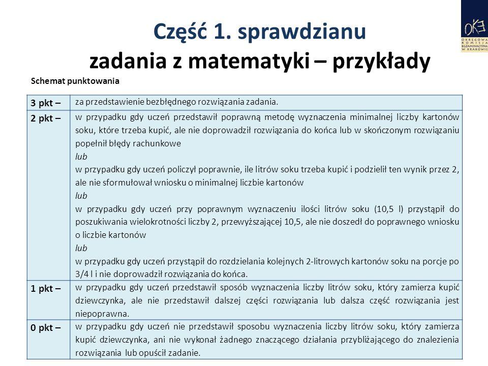 Część 1. sprawdzianu zadania z matematyki – przykłady 24 3 pkt – za przedstawienie bezbłędnego rozwiązania zadania. 2 pkt – w przypadku gdy uczeń prze