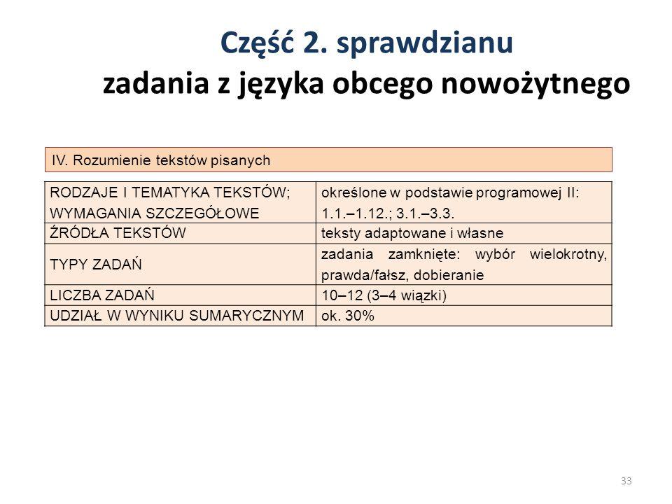 Część 2. sprawdzianu zadania z języka obcego nowożytnego 33 IV. Rozumienie tekstów pisanych RODZAJE I TEMATYKA TEKSTÓW; WYMAGANIA SZCZEGÓŁOWE określon