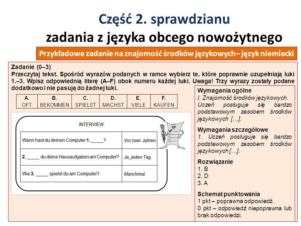 Część 2. sprawdzianu zadania z języka obcego nowożytnego 37 Zadanie (0–3) Przeczytaj tekst. Spośród wyrazów podanych w ramce wybierz te, które poprawn
