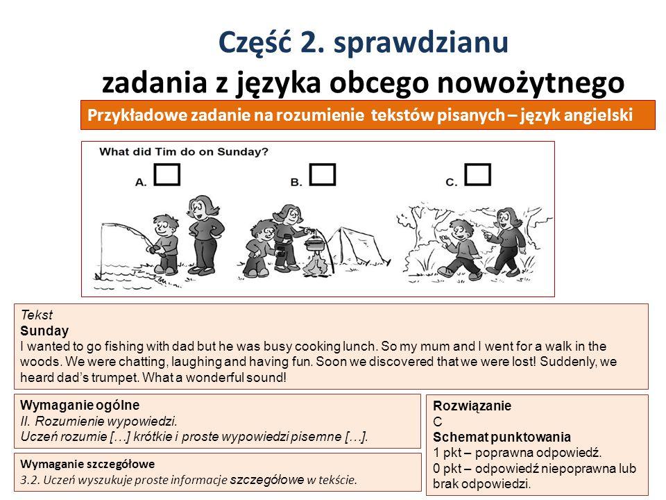 Część 2. sprawdzianu zadania z języka obcego nowożytnego 38 Wymaganie ogólne II. Rozumienie wypowiedzi. Uczeń rozumie […] krótkie i proste wypowiedzi