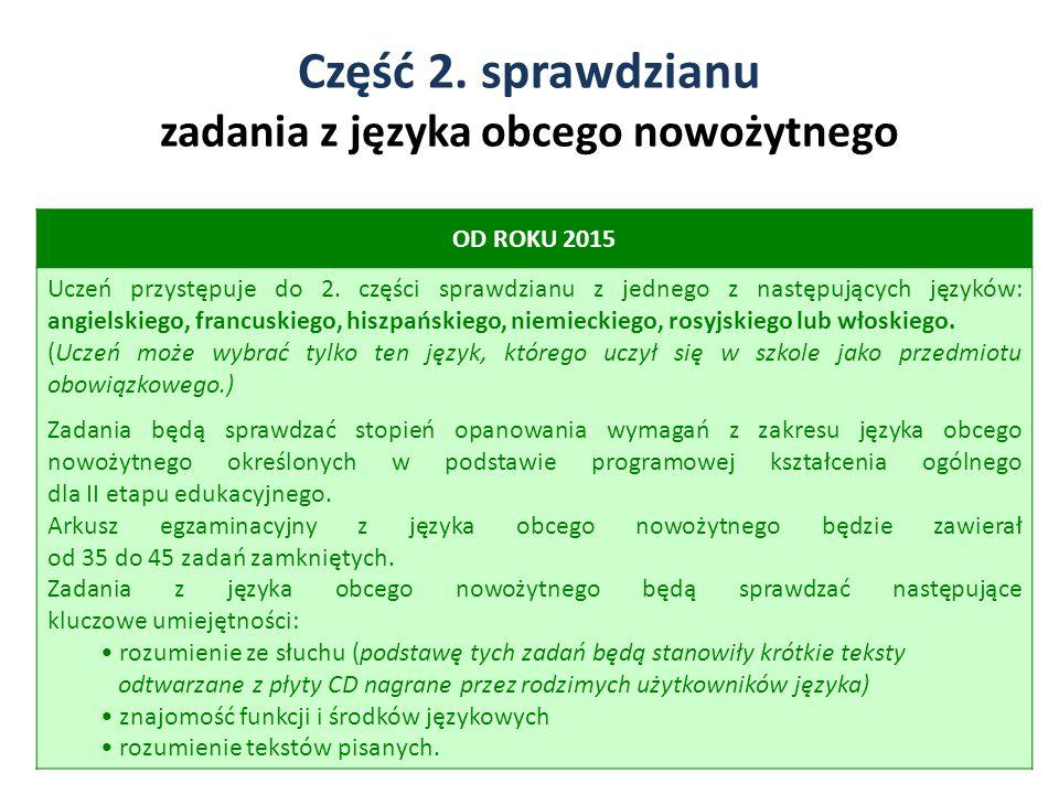 Część 2. sprawdzianu zadania z języka obcego nowożytnego 5 OD ROKU 2015 Uczeń przystępuje do 2. części sprawdzianu z jednego z następujących języków: