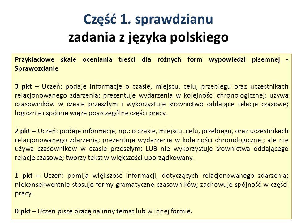Część 1. sprawdzianu zadania z języka polskiego 8 Przykładowe skale oceniania treści dla różnych form wypowiedzi pisemnej - Sprawozdanie 3 pkt – Uczeń
