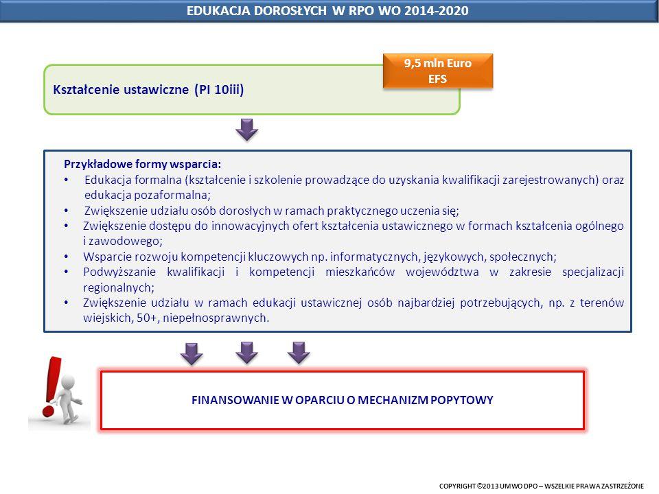 COPYRIGHT © 2013 UMWO DPO – WSZELKIE PRAWA ZASTRZEŻONE EDUKACJA DOROSŁYCH W RPO WO 2014-2020 Kształcenie ustawiczne (PI 10iii) Przykładowe formy wspar